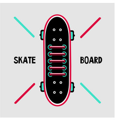 skateboard deck with sneakers lace skaters shoes vector image