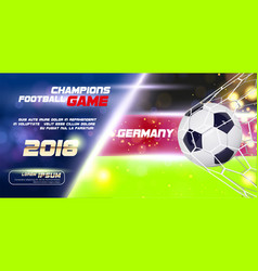 Soccer or football wide banner or flyer with 3d vector
