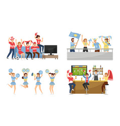 sport team fans supporters group with attributes vector image
