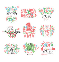 Spring 1 may set original design spring holidays vector