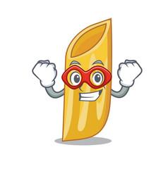 Super hero penne pasta character cartoon vector