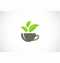 tea organic leaf logo vector image