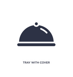 Tray with cover icon on white background simple vector