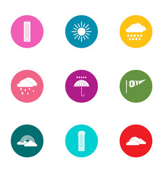 Weather diversity icons set flat style vector