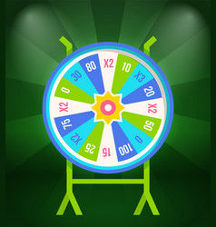 wheel fortune with prize stakes on stand vector image