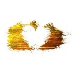 White heart on a gold stain background vector image