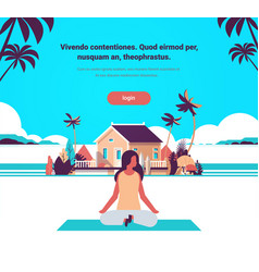 Woman doing yoga exercises lotus over beach villa vector