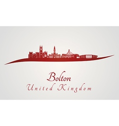 Bolton skyline in red vector image