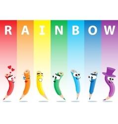 Color Pencils Set on Rainbow vector image