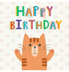 Happy Birthday greeting card with a cute cat vector image vector image