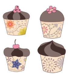 set of chocolate cupcakes vintage vector image vector image