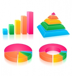set of rainbow charts vector image vector image
