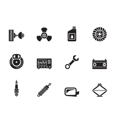 Silhouette Car Parts and Services icons vector image