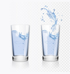 transparent glass of water realistic vector image vector image