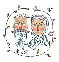 Bearded Man and No Beard Woman Portraits vector image vector image