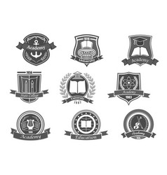 college or university icons or emblems set vector image