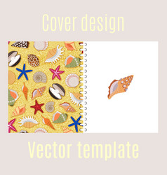 Cover design with sea shells pattern vector