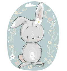 cute cartoon hare vector image vector image