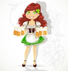 Cute girl with glasses of beer vector