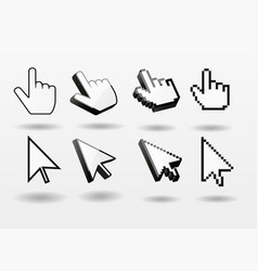 Mouse pointer set computer cursor icon finger vector
