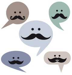 speech bubble faces with mustaches vector image vector image