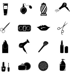 beauty salon set of black icons new business vector image vector image