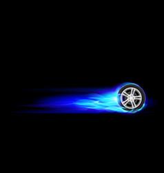 blue burning wheel on black background vector image vector image