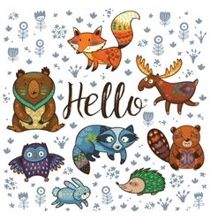Forest tribal animals set vector image