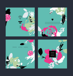 set of abstract creative handmade greeting cards vector image