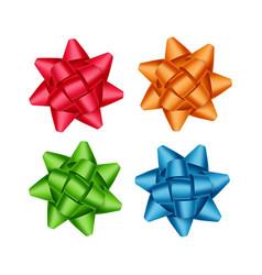 set of red orange green blue gift ribbon bows vector image vector image