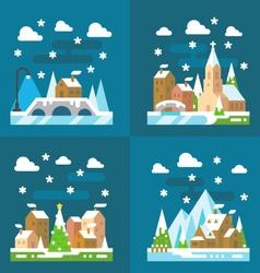 Snowy village Christmas flat design vector image vector image