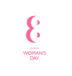 8th march pink color symbol negative space vector image vector image