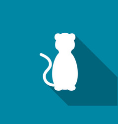 cat flat icon with long shadow lion vector image