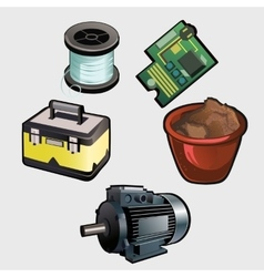 Electric industry set motor coil chip and other vector image