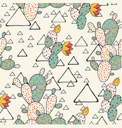 prickly pear cacti and triangles vector image vector image