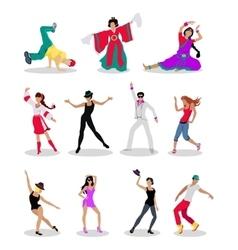 Set of Dancing Peoples Flat vector image vector image