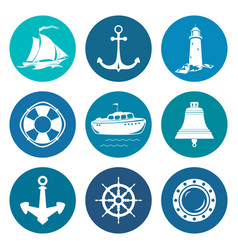 set of round marine travel icons vector image vector image