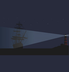 a lighthouse and a large sailing ship vector image