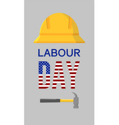 American or usa labour days banner with yellow vector