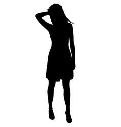attractive teen girl posing silhouette vector image