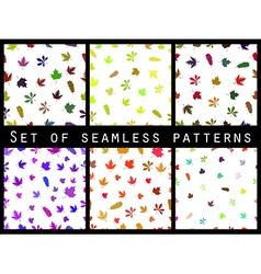 Autumn leaves seamless pattern set vector image