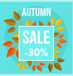 autumn sale market blue background flat style vector image