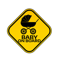 Baby on board sign with child carriage silhouette vector