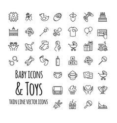baby toys games feeding and care icons vector image