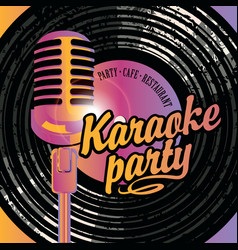 Banner with mic and vinyl record for karaoke party vector