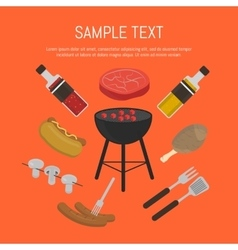 Barbecue grill card design template vector image