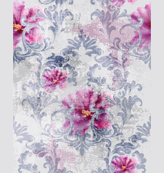 baroque texture pattern with roses floral vector image