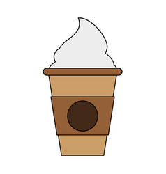 Beverage with foam in disposable cup coffee vector