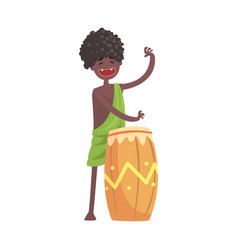 Black skinned man aborigine playing on ethnic drum vector