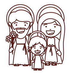 brown silhouette of sacred family with baby jesus vector image